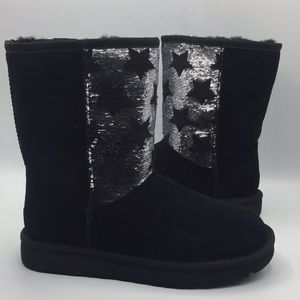 UGG Classic Short Sequin Suede Black Boots